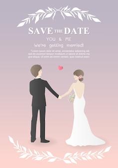 Carte d'invitation de mariage avec la robe de mariage de mariage en couple