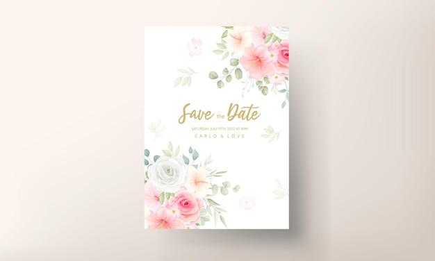 Carte d'invitation de mariage romantique de fleurs et de feuilles