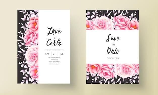 Carte d'invitation de mariage rose rouge aquarelle