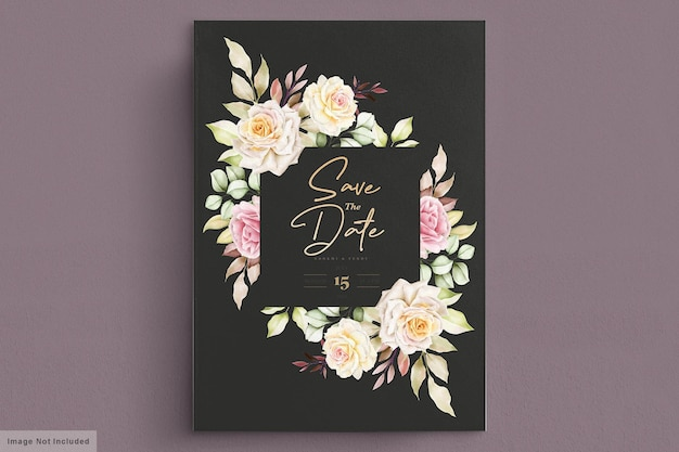 Carte d'invitation de mariage de roses blanches aquarelle romantique