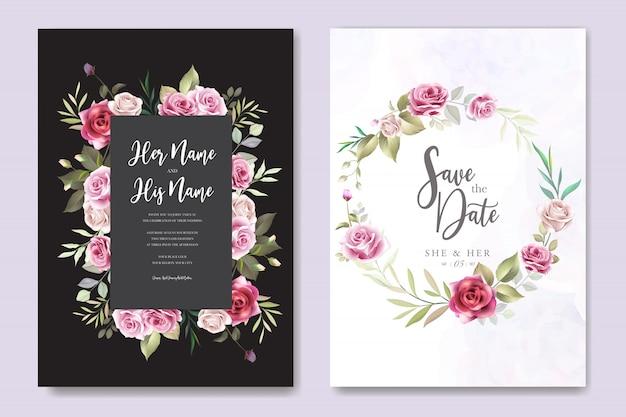 Carte d'invitation de mariage avec des roses élégantes