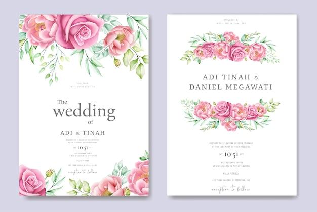 Carte d'invitation de mariage avec roses et feuilles