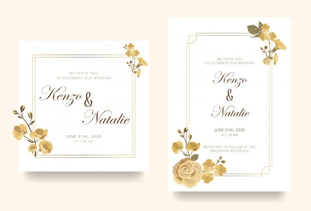 Carte d'invitation de mariage avec des roses d'or et une ligne géométrique