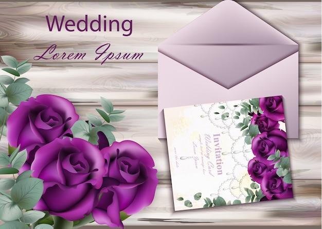 Carte d'invitation de mariage avec des roses pourpres