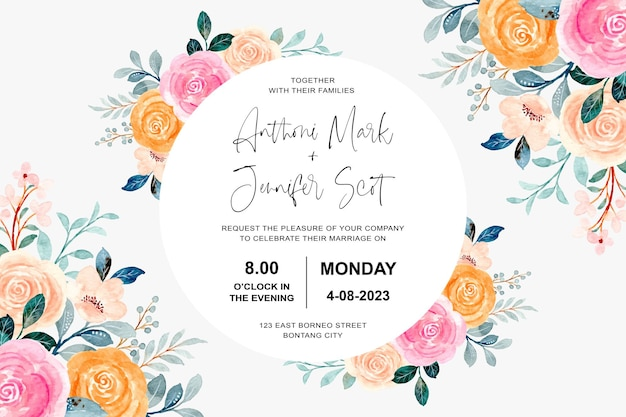 Carte d'invitation de mariage avec des roses roses et orange à l'aquarelle