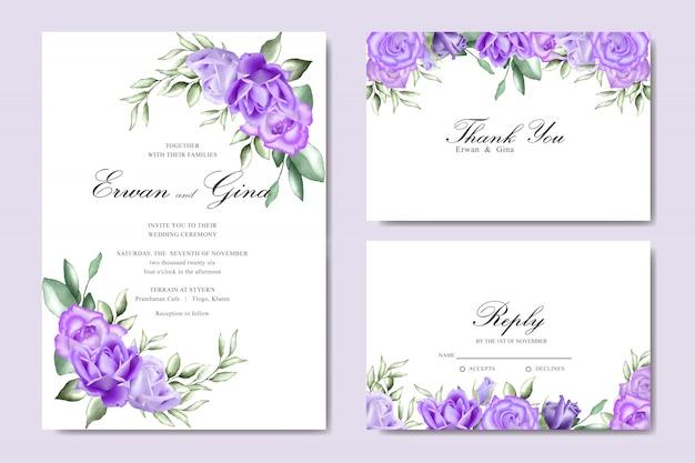 Carte d'invitation de mariage sertie d'aquarelle floral et modèle de feuilles