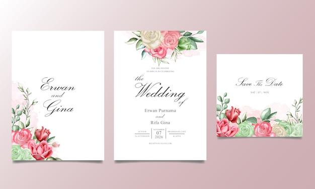 Carte d'invitation de mariage sertie d'aquarelle florale et de feuilles