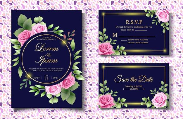 Carte d'invitation de mariage sertie d'élégantes feuilles florales