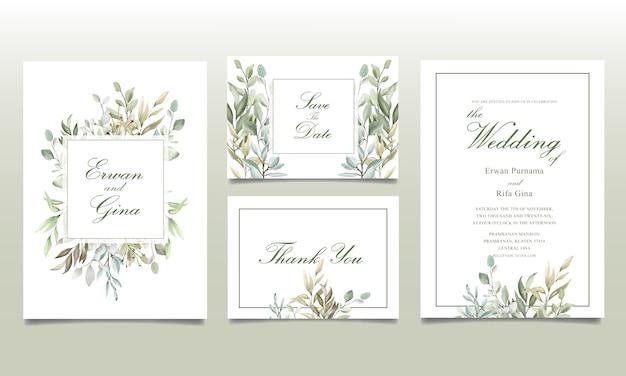 Carte d'invitation de mariage sertie de feuilles d'aquarelle