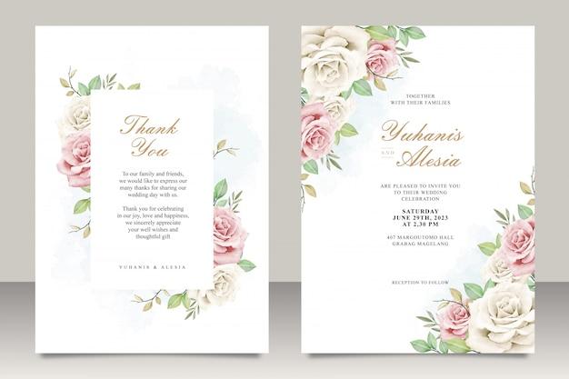 Carte d'invitation de mariage sertie de fleurs et de feuilles