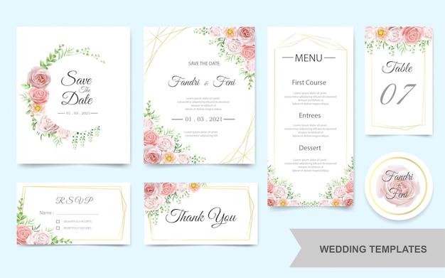 Carte d'invitation de mariage sertie de fleurs roses