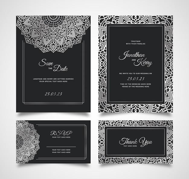 Carte d'invitation de mariage sertie de modèle de fond abstrait floral