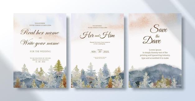 Carte d'invitation de mariage sertie de peintures de paysages à l'aquarelle pin en été et montagne dans le ciel