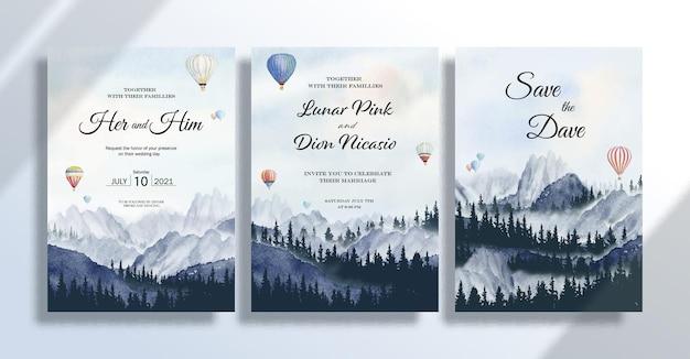 Carte d'invitation de mariage sertie de peintures de paysages à l'aquarelle voyageant avec des ballons sur le pin en été et la montagne dans le ciel