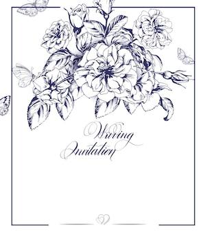 Carte d'invitation de mariage sertie d'une rose en fleurs et de papillons. illustration vectorielle.