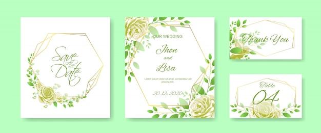 Carte d'invitation de mariage sertie de rose jaune