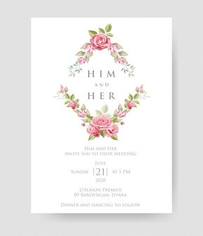 Carte d'invitation de mariage simple avec beau modèle floral et feuilles