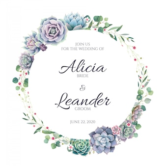 Carte d'invitation de mariage succulente et verdure sur fond blanc.