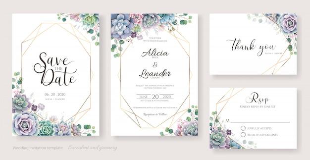 Carte d'invitation de mariage de succulentes et de branches