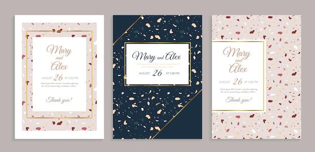 Carte d'invitation de mariage de terrazzo.