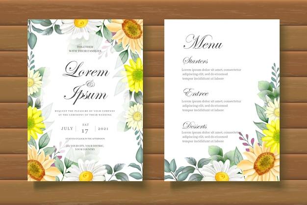 Carte d'invitation de mariage tournesol aquarelle