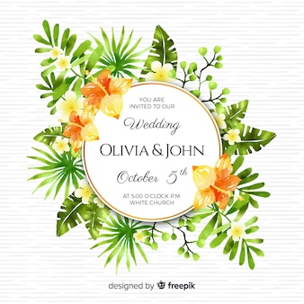 Carte d'invitation de mariage tropical aquarelle