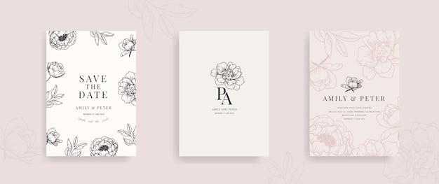 Carte d'invitation de mariage avec vecteur floral dessiné à la main.