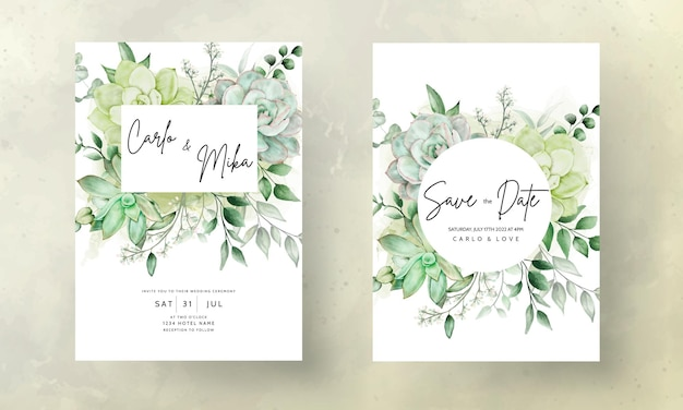 Carte d'invitation de mariage de verdure de luxe floral