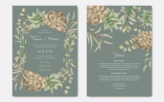 Carte d'invitation de mariage vintage avec cadre floral