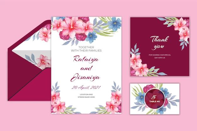 Carte d'invitation de mariage vintage avec fleur et feuilles
