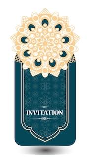 Carte d'invitation de mariage vintage avec motif mandala, mandala floral et ornements. design oriental. asiatique, arabe, indienne