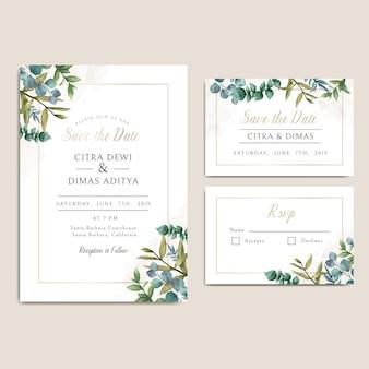 Carte d'invitation de mariage vintage avec paquet de feuilles