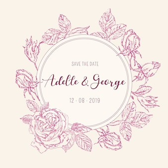 Carte d'invitation de mariage vintage avec des roses