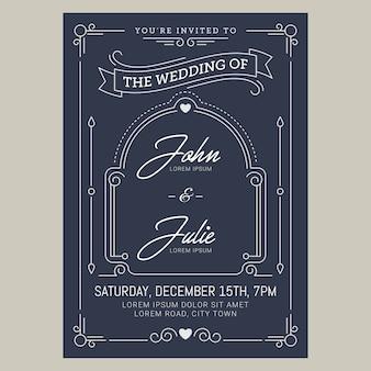 Carte d'invitation de mariage vintage