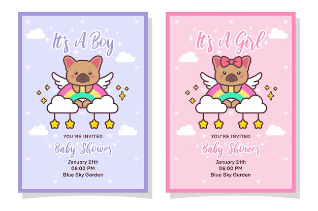 Carte d'invitation mignon bébé douche garçon et fille avec chien bouledogue français, nuage, arc-en-ciel et étoiles