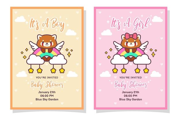 Carte d'invitation mignon bébé douche garçon et fille avec panda rouge