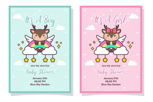 Carte d'invitation mignonne de garçon et de fille de douche de bébé avec le cerf