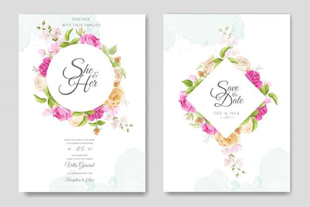 Carte d'invitation avec modèle de belles roses jaunes et roses