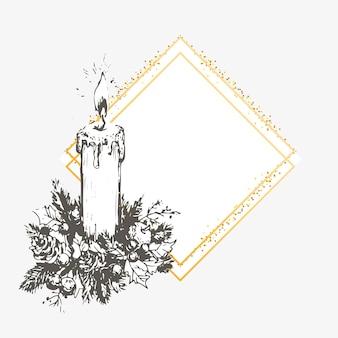 Carte d'invitation de noël et du nouvel an dessinée à la main. illustration vectorielle dessinés à la main de couronne rétro sur fond clair. collection vacances d'hiver