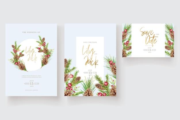 Carte d'invitation de noël floral aquarelle