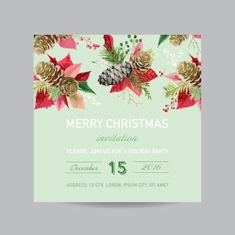Carte d'invitation de noël pin et poinsettia