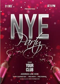 Carte d'invitation nye party ou flyer avec une bouteille de champagne et les détails de l'événement sur fond de bokeh bordeaux.