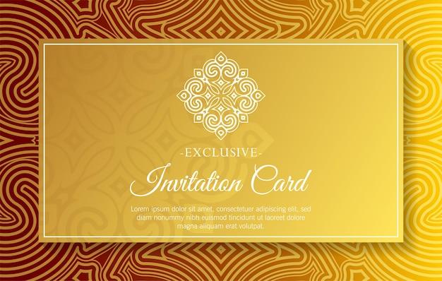 Carte d'invitation en or de luxe de style mandala