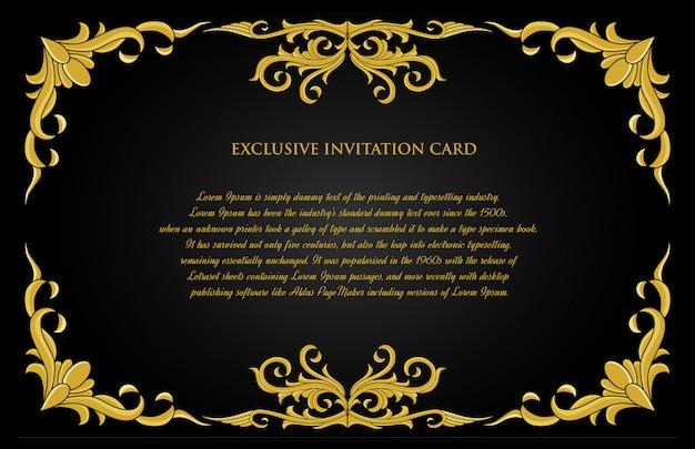 Carte d'invitation d'ornement or décoratif avec fond noir