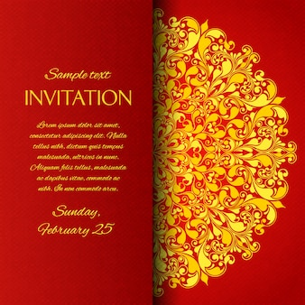 Carte d'invitation d'ornement rouge