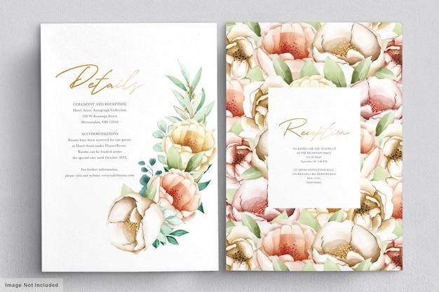 Carte d'invitation de pivoines aquarelle romantique