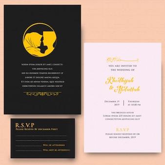 Carte d'invitation popart silhouette couple modèles