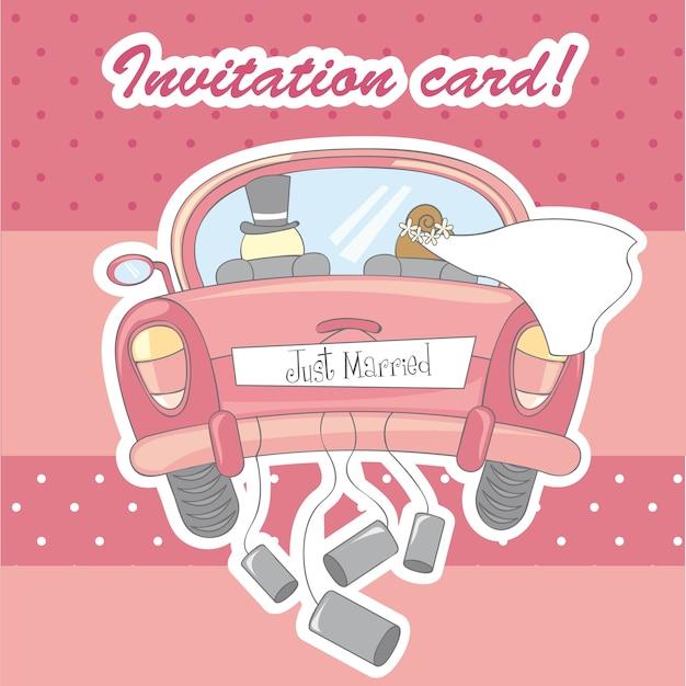 Carte d'invitation pour mariage sur vecteur fond rose