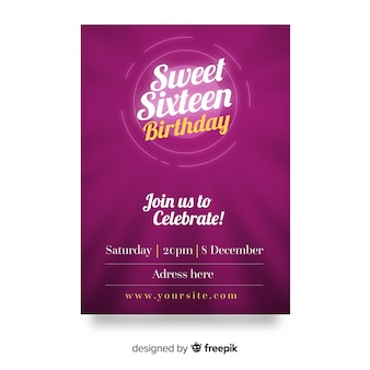 Carte d'invitation pourpre sweet sixteen party