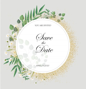 Carte d'invitation romantique avec des feuilles et des fleurs de camomille